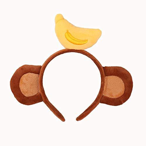 熱狂の夜 猿耳カチューシャ 動物の耳髪飾り コスプレ小物 子供用 成人用バナナ飾り (ブラウン 2)