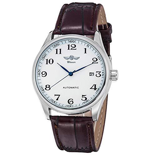 """GuTe Mechanical mechanische Armbanduhr für Herren, Modell """"Winner"""", klassisches Design, weißes Zifferblatt, blaue Zeiger, Armband aus Kunstleder, selbstaufziehend"""
