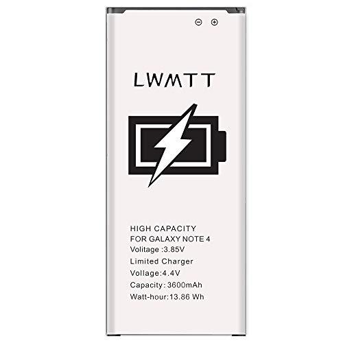 LWMTT 3600mAh Batterie Compatible avec Samsung Galaxy Note 4, Remplacement de Capacité Améliorée Batterie Interne pour Note 4, 0 Cycle(sans NFC)