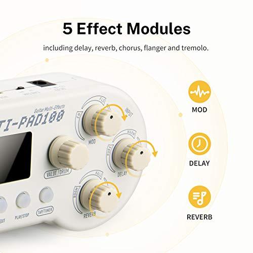 Donner Multiefectos Pedal Guitarra, 7 Modelos de Amplificador/5 Módulos de Efectos Delay Reverb Chorus Flanger Tremolo/40 Función de Afinación de Ritmos de Batería, MULTI-PAD100