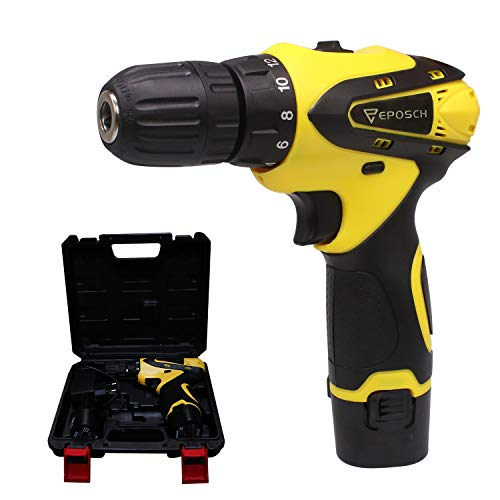 Eposch EP-812 10 mm Dual Speed Keyless Chuck 12V Cordless Drill/Screwdriver with 2 Batteries, LED Torch & Carry Case Pistol Grip Drill Variable Speed & Torque Setting (19+1, Yellow)