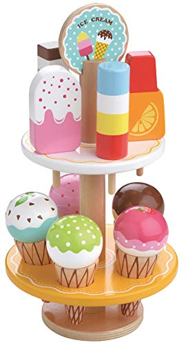Lelin 10 pcs Wooden Ice Cream Stand Pretend Play Kitchen Food Toy Set - Set...