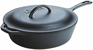 lodge l10cf3 cast iron covered deep skillet