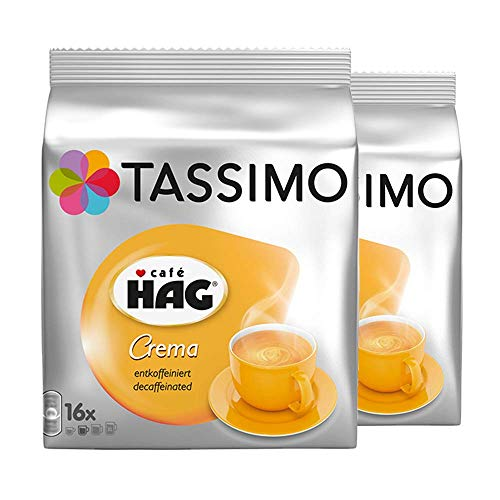 Tassimo Caf? HAG Crema Decaffeinated, Rainforest Alliance Certified, Pack of 2, 2 x 16 T-Discs