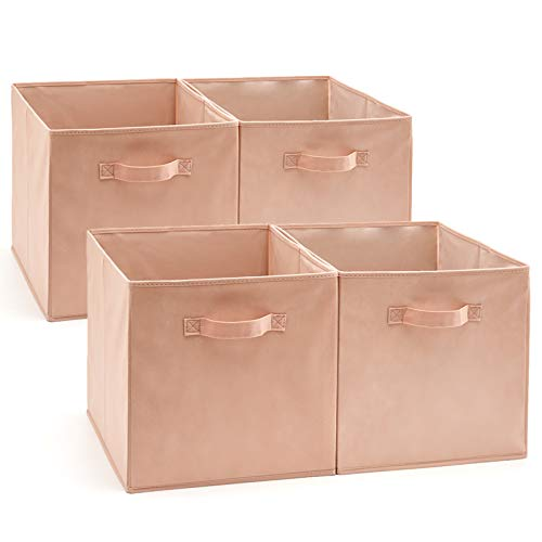 EZOWare Set of 4 Foldable Fabric Basket Bin, Collapsible Storage Cube Boxes for Nursery Toys (13 x 15 x 13 inches) (Pink)