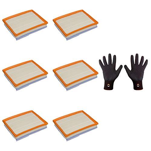 6 filtros de aire Febi Bilstein 101657 con fieltro + 1 guantes de montaje de agarre fino, talla 9/L