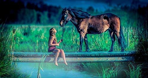 1000 stukjes puzzel Waterkanalen, bruggen, meisjes en paarden, geschikt voor families, vrienden, kinderen 75x50cm