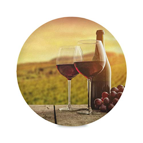 WENXOUAL Round Table Mats Grape Red Wine Glass Bottle Wooden Board Placemats Heat-Resistant Non-Slip Kitchen Place Mats for Dining Table Decor Washable Easy to Clean 15.4' x 15.4' Set of 4