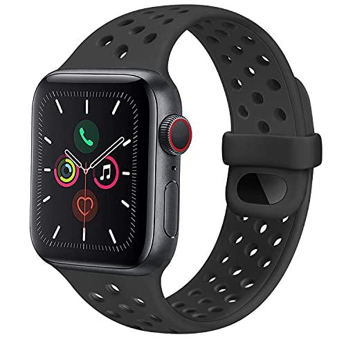 CTZL Correa Compatible con Apple Watch 44mm 42mm 40mm 38mm, Pulseras de Repuesto de Silicona Suave para iWatch Series SE 6 5 4 3 2 1 Mujer Hombre (38mm/40mm S/M, Negro)