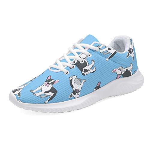 Zapatillas de correr para hombre y mujer, zapatillas de deporte, transpirables, divertidas, bulldog francés, diseño de perros, color azul, color, talla 41 EU