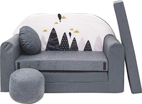 Pro Cosmo Kindersofa Bettfunktion 3in1 Sofa + Gratis Polsterhocker und Kissen Kindermöbel Set - AX2