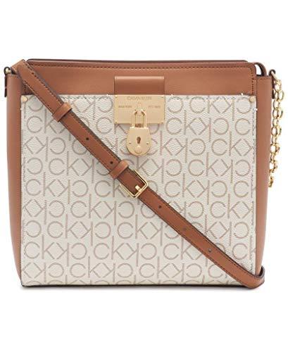 Calvin Klein Women's Camille Organizational Signature Large Crossbody, Vanilla/Khaki/Caramel Linear, One Size