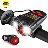 Jowbeam USB Rechargeable Bike Lights Front and Back - 800 Lumens Headlight & Tail Light Set-Bike Bell- Waterproof- Fits All Bicycles, Hybrid, Road, MTB