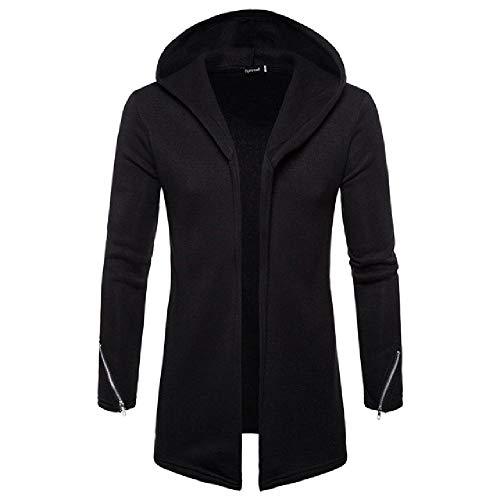 Heren Mode Jassen Mens Hooded Effen Rits Trench Jas Vest Lange Mouw Blouse Jas
