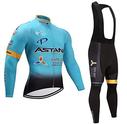 TOPBIKEB Fietspakken voor mannen, lange mouwen fietsshirt en Gel gewatteerde koersbroek voor MTB