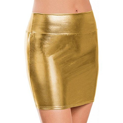 BOLAWOO-77 Señoras Falda Lápiz Corta PU Cuero Falda Lápiz Falda Mode De Marca Elástico Brillante Líquido Metálico Bodycon Lápiz Faldas Faldas Cortas