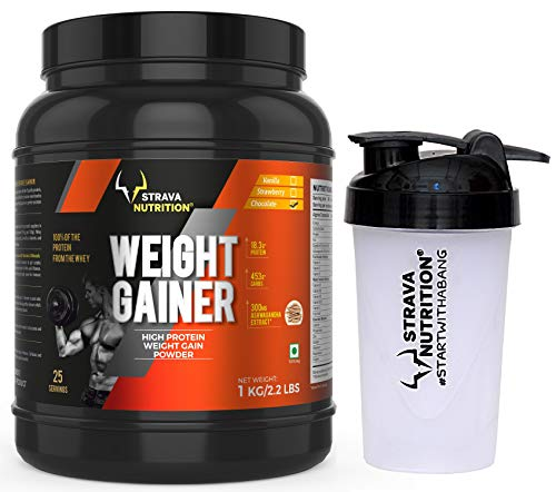 Strava Nutrition Weight Gainer with Digestive Enzymes | Chocolate Flavour |1kg / 2.2 lbs | With Shaker 500 ml