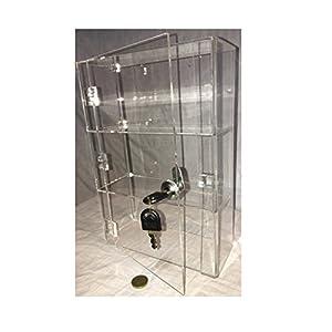 PC3721® 1 Vitrina de acrílico transparente de alto brillo con puerta frontal y bloqueo de seguridad DB091-CABA4