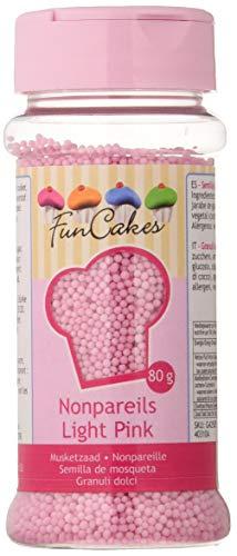 FunCakes Sprinkles Decoraciones NonPareils de Color Rosa Claro para Decorar Tartas, Cupcakes, Galletas, Helados y otros Dulces, 80g, G42505