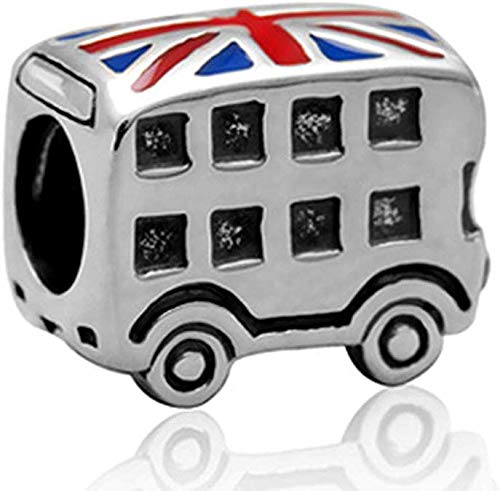 Melchior Jewellery London Bus Britain Vlag UK Charm Bead 925 Sterling Zilver Hanger Past op Europese Armband