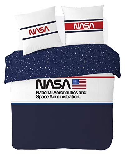 NASA Parure de lit 220X240 cm 100% Coton, Bleu, Blanc, Rouge