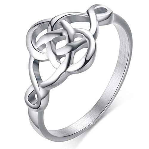 Stainless Steel Plain Classical Celtic Love Knot Ring (Silver, 8.5)