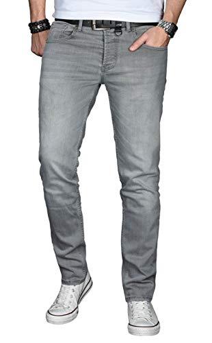 A. Salvarini Designer Herren Jeans Hose Basic Stretch Jeanshose Regular Slim [AS029 - Hellgrau - W36 L34]