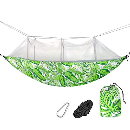 Hamacs, Meubles de Camping Anti-Moustique Application Multi-scénarios Impression de Mode Léger et Portable Charge 250kg (Couleur: Vert, Taille: 270 * 140cm) Confortable
