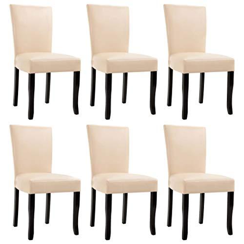vidaXL 6X Sillas de Comedor Cuero Sintético Mobiliario Decoración Hogar Muebles de Interior Casa Hogar Diseño Estético Ergonómico Duraderas Crema