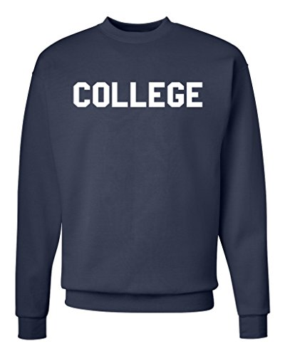American Tee Co. College Unisex Mens Womens Crewneck Sweatshirt Jumper Pullover, Navy, M