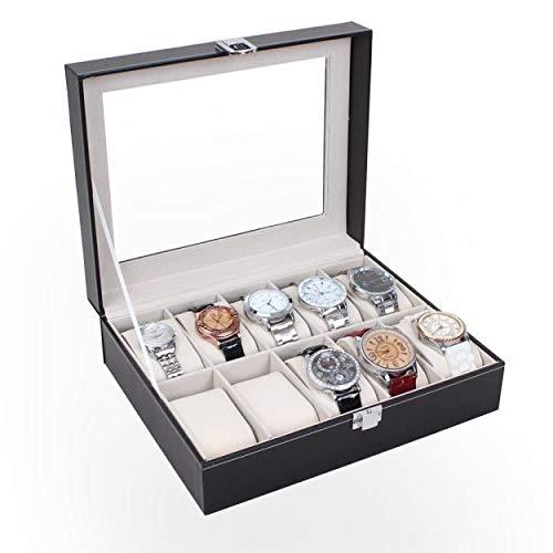 Sulifor Uhr Aufbewahrungsbox, Leder 10 Slot Uhr Display Box Aufbewahrungsbox Aufbewahrungskoffer