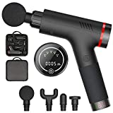 Massage Gun Handheld Percussion Muscle Massager Electric Body Massager for Sore Muscle and Stiffness - Quick Rechargeable Device - Includes 4 Massage Heads (Black)
