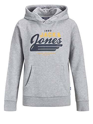 Jack & Jones Junior JJELOGO Sweat Hood 2 COL 20/21 Noos JR Sweatshirt Capuche, Gris Clair chiné, 12 Ans Fille