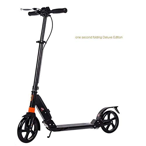 JLWDD Erwachsener Cityroller/Tretroller/Scooter/Roller mit Handbremse und 3 Sekunden Klapp System,200mm große Räder, Verstellbarer Lenker, Scheibenbremsen Kick Roller mit Aluminium