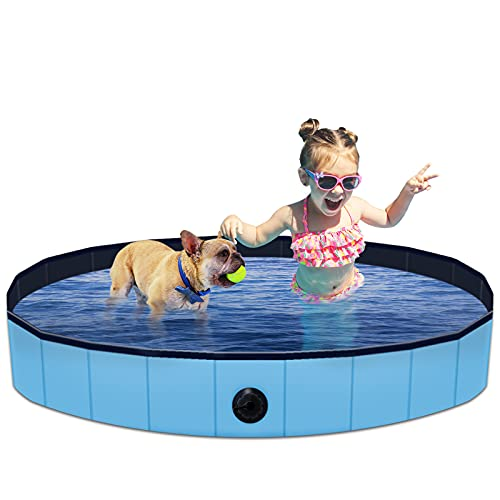 """HPYMore Foldable Dog Pool Outdoor Pet Bath Tub, 48"""" Diameter PVC Collapsible Plastic Pool, Slip-Resistant Large Kiddie Pool for Dogs and Cats"""