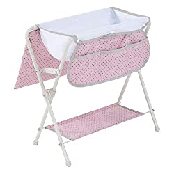 DESIGN: 2-way changing station- Your kids could play as a doll bathtub and also as a changing table. Designed in a pink and grey polka dot style, this changing station is right on trend this year! Doll not included. INCLUDES: A 3-pocket pouch on one ...