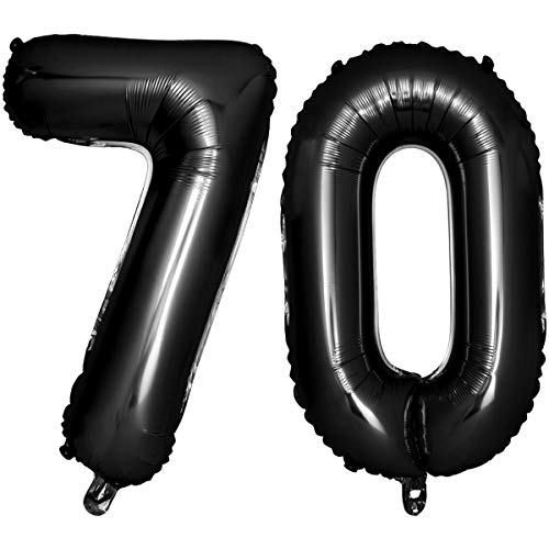Iwinna 40 Black Number Balloons 70th Jumbo Foil Balloon for Birthday Anniversary Party Decoration