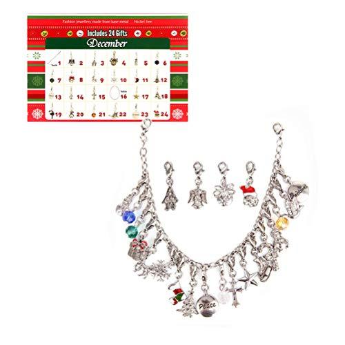 Suszian Collar para Mujeres, Navidad Calendario de Adviento Calendario de Cuenta Regresiva DIY Charms Pulsera Collar Joyería Calendario de Adviento