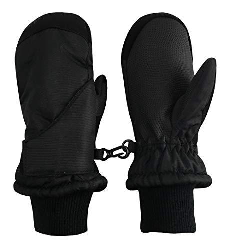 N'Ice Caps Kinder Schneefäustlinge zum einfachen Anziehen, wasserdicht, Thinsulate Warm - Schwarz - 4-5 Jahre