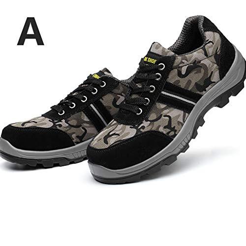 Zapatos de seguridad Entrenadores de seguridad for hombres Mujeres, de malla de camuflaje transpirable, desodorante de alpinismo, transpirable, anti-aplastante, perforadores, entrenadores industriales