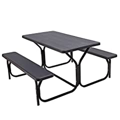 【Upscale Wood-Like Texture and Eco-Friendly Material】This picnic table and bench set is made of customized high-density Polyethylene, which is impact resistant, eco-friendly and has no harmful smell. Though it is Polyethylene material, the table benc...
