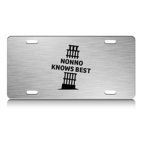 Press Fans - Nonno Knows Best Italy Pisa Tower S.Steel Car SUV Truck License Plate Decorative Tag Chrome-D#c58