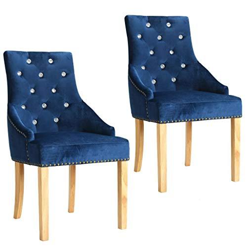 WT Trade 2er-Set Design Esszimmerstuhl SAMT-Bezug Blau | Küchenstuhl Essstuhl Polstersessel | mit...