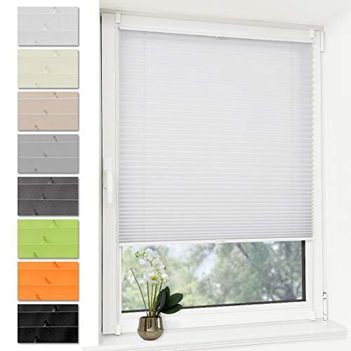 Deswell Plissee Rollo Jalousie ohne Bohren Klemmfix für Fenster & Tür Weiß 100 x 100 cm (Breite x Höhe), Plisseerollo Stoff Sonnenschutz leicht zu montieren & Verspannt