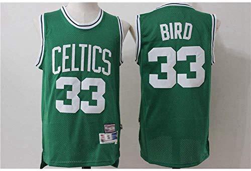 YZQ Herren-Basketball-Trikots - Boston Celtics # 33 Larry Bird - Retro NBA Basketball Ausgabe Mesh-Jersey Sport-Weste-Spitze Sleeveless T-Shirt,XXL(185~190cm/95~110kg)