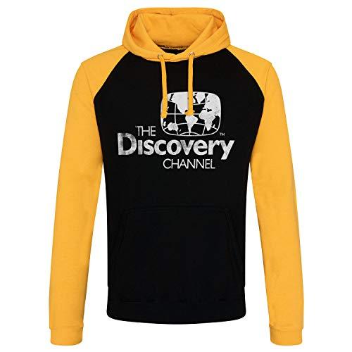 Discovery Officiellement sous Licence Channel Distressed Logo Baseball Sweat À Capuche (Noir - Jaune), M