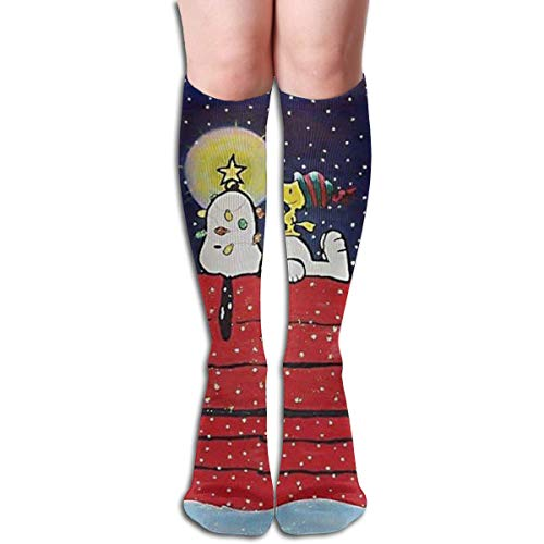 liangchunmei Kniehohe Socken Snoopy und Woodstock Coole Stiefelsocken für Mädchen Frauen
