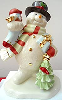 2017 Annual Snowman Figurine Carrying presents in stockings and a Christmas tree