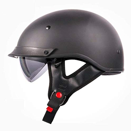 EBAYIN Cascos Half-Helmet Cascos Abiertos Medios Cascos Media Cara para Motocicleta Harley Retro Dot/ECE Neutral Cruiser Chopper Skateboard Jet Casco,MattBlack-XL=(61~62cm)