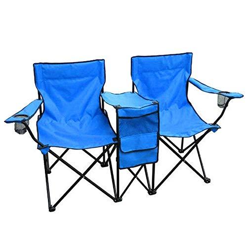 ADHKJSHX - Silla doble portátil plegable con paraguas extraíble para exteriores, portátil, ligera, plegable, para picnic, camping, pesca, doble silla